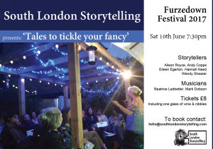 Flyer for South London Storytelling event with Wendy Shearer