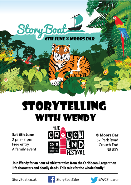 Storytelling at Moors Bar Sat 6th June for Crouch End Festival