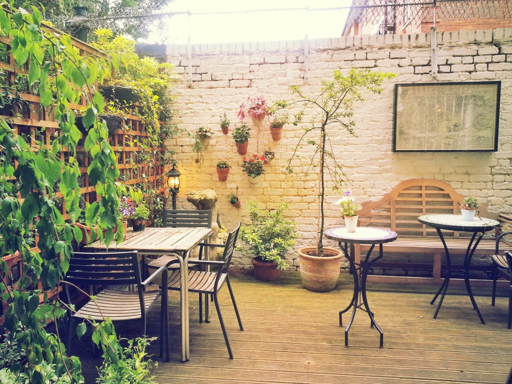 Walled garden at Book & Kitchen