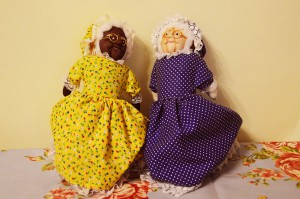 Black and White Granny storydolls for storytelling