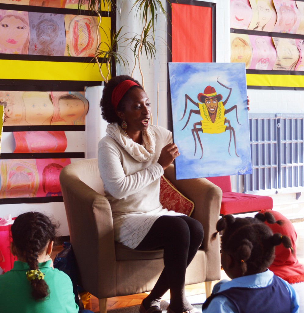 Storytelling with a painting of Anancy the spiderman