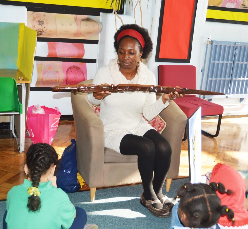 Wooden staff for Anansi storytelling