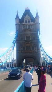Walking along Tower Bridge