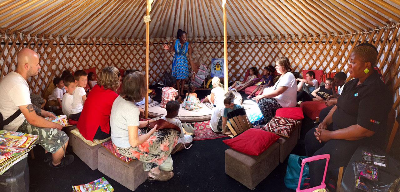 Wendy Shearer Inside the storytelling Yurt for the Night of Festivals