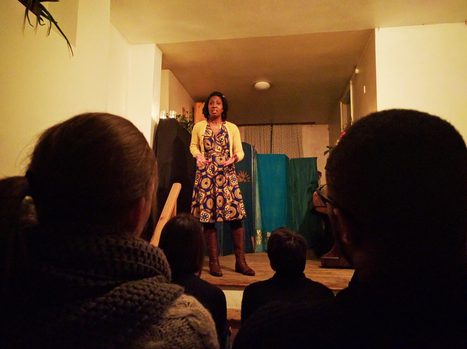 Wendy Shearer storytelling at Torriano Story Night
